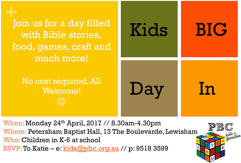 Kids Big Day In, Monday 24 April 2017, 8:30am–4:30pm